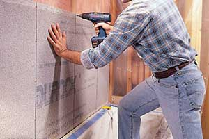 re-sheeting bathroom walls